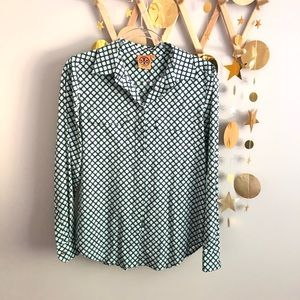 Tory Burch silk button down printed blouse